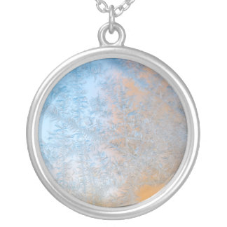 Delicate frost pattern, Wisconsin Silver Plated Necklace