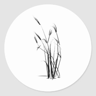 Delicate Grass Accent Round Sticker