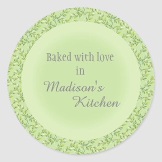 Delicate Green Leaves Personalized Baked Goods Classic Round Sticker