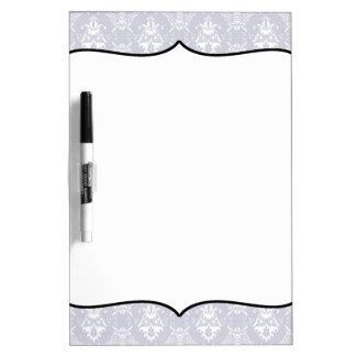 Delicate Grey Damask Pattern Dry Erase Boards