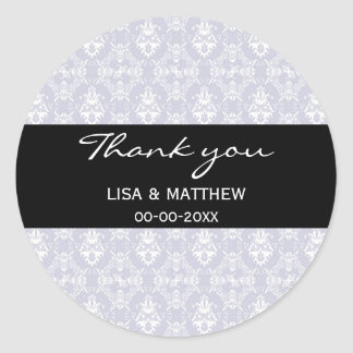 Delicate Grey Damask Pattern Round Sticker