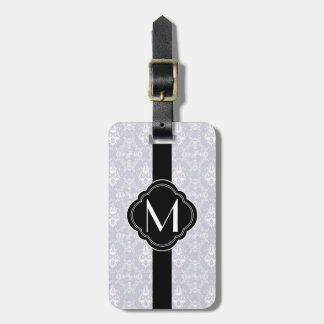 Delicate Grey Damask Pattern with Monogram Luggage Tag