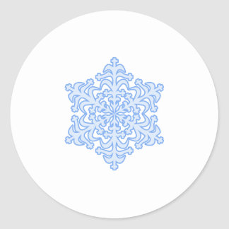 Delicate Icy Blue Winter Christmas Snowflake Round Sticker