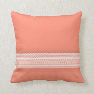 Delicate Lace Against Vibrant Coral Cushion
