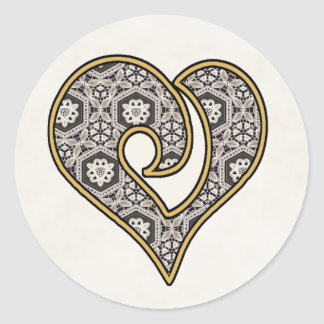 Delicate Lace Fabric Pattern Collection - 10 Round Sticker