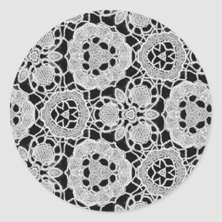 Delicate Lace Fabric Pattern Collection Lace - 07 Round Stickers