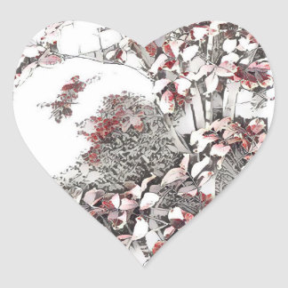 Delicate Last Leaves of Autumn Heart Sticker