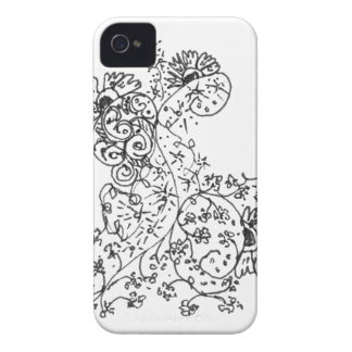Delicate Line Drawings of Abstract Flower Dance iPhone 4 Covers