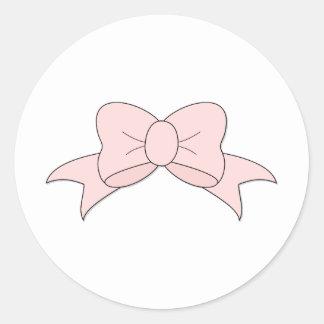 Delicate Little Pink Bow Round Sticker