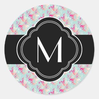 Delicate Multicolored Damask Design Round Sticker