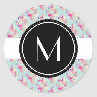 Delicate Multicolored Damask Pattern Round Sticker