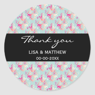 Delicate Multicolored Damask Pattern Stickers
