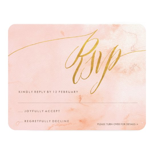 Delicate Paint Blush and Gold RSVP Card