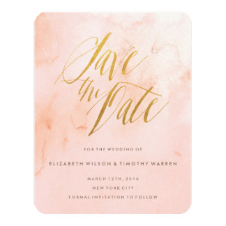 Delicate Paint Blush and Gold Save the Date Card