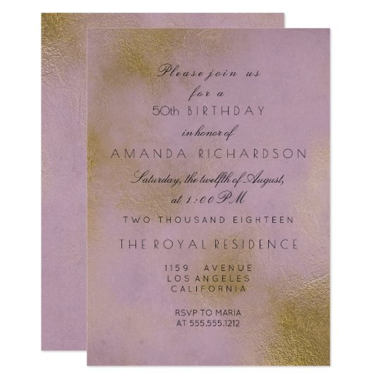 Delicate Pastel Lavender Lilac Gold Birthday Card