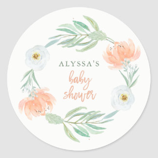Delicate Peach Floral and Eucalyptus | Baby Shower Classic Round Sticker