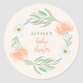Delicate Peach Floral and Eucalyptus | Baby Shower Round Sticker