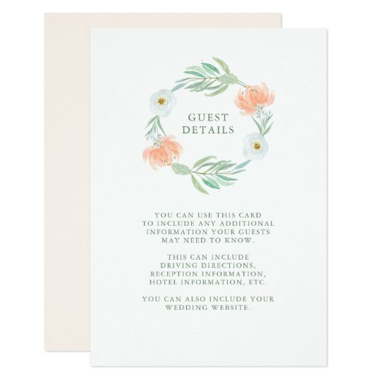 Delicate Peach Floral and Eucalyptus Guest Details Card