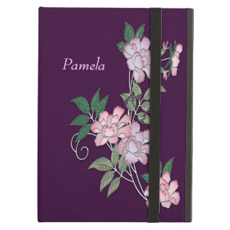 Delicate peonies elegant floral pattern with name cover for iPad air