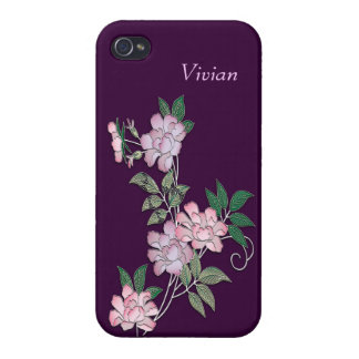Delicate peonies elegant floral pattern with name iPhone 4/4S case