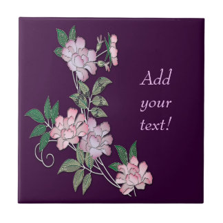 Delicate peonies elegant floral pattern with text tile