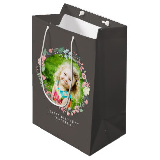 Delicate Photo Floral Frame Medium Gift Bag