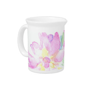 Delicate Pink Albertine Roses Pattern on White Pitcher