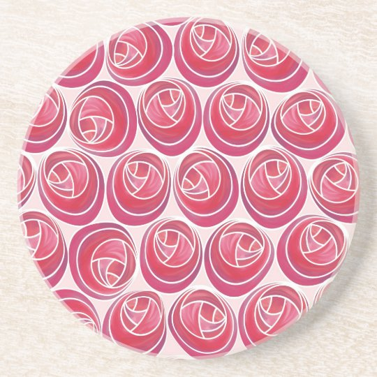 Delicate Pink and White Art Nouveau Roses Pattern