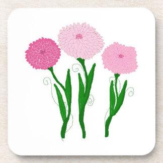 Delicate Pink Chrysanthemums Beverage Coaster
