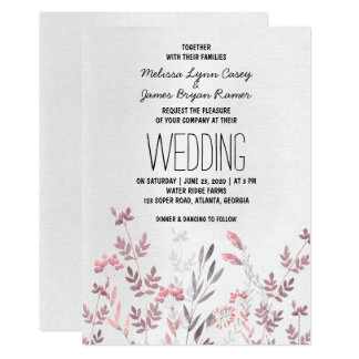 Delicate Pink Floral Wedding Invitation