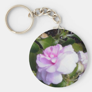 Delicate Pink Flower Basic Round Button Key Ring