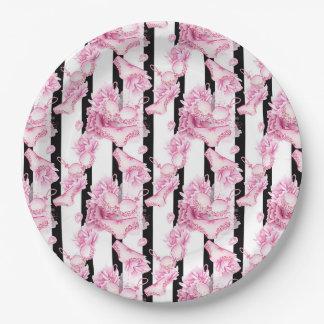 Delicate pink lingerie Bridal Shower paper plate