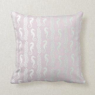 Delicate Pink Pastel Silver Seahorses Decor Cushion
