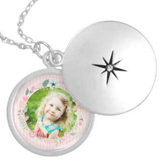 Delicate Pink Stripes Custom Photo Floral Frame Locket Necklace