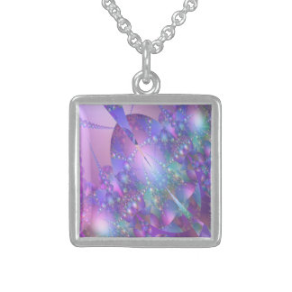 Delicate Purple and Pink Fractal Bubble Necklace