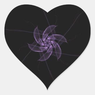 DELICATE PURPLE DIGITAL SPACE FLOWER HEART STICKER