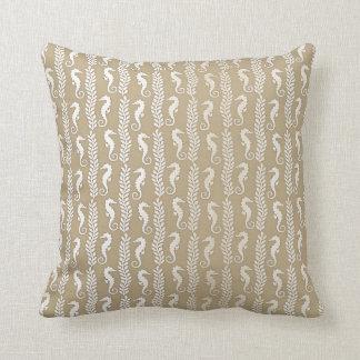 Delicate Seahorses Silver Ivory Pastel Ocean Beach Cushion