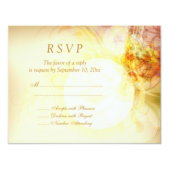 Delicate spring colours swirl wedding RSVP card