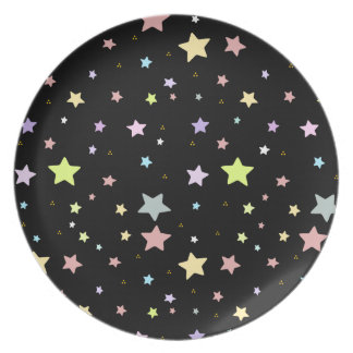 Delicate Star pattern on black night sky plate