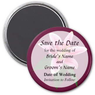 Delicate Stargazer Lily Save the Date 7.5 Cm Round Magnet