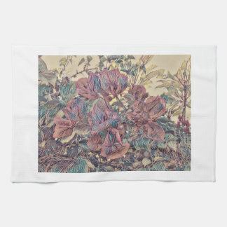 Delicate Stylised Bougainvillea Tea Towel