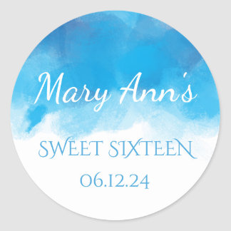 Delicate Sweet 16 Summer Blue Watercolor Round Sticker