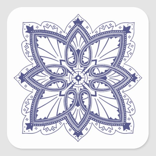 Delicate Tatting Style Victorian Pattern Square Stickers