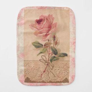 Delicate Victorian Pink Rose Burp Cloths