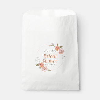 Delicate Watercolor Floral Orange Bridal Shower Favour Bags