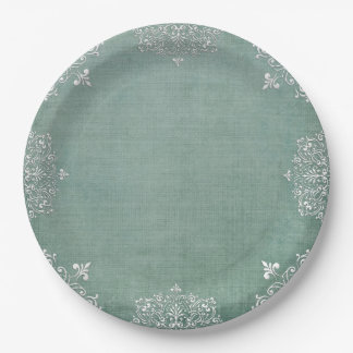 Delicate White Lace on Aqua Shabby Chic Paperplate 9 Inch Paper Plate