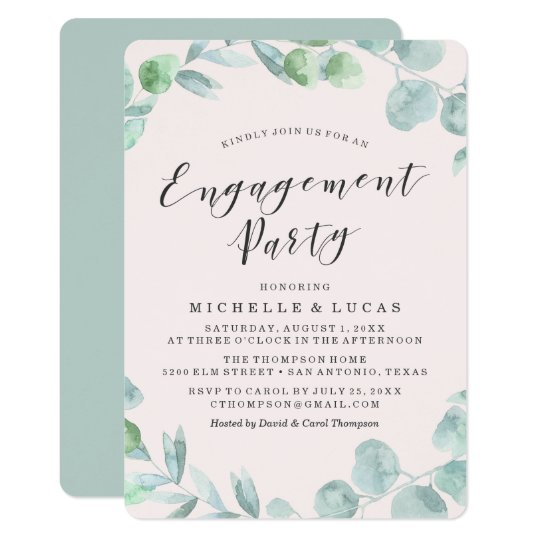 Delicate Wreath | Engagement Party Invitation