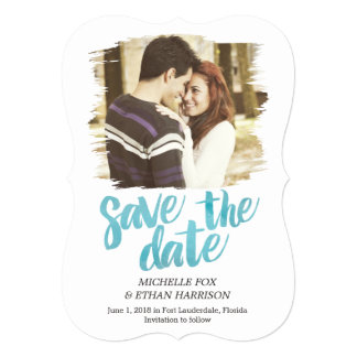 "Delicately Revealed Save The Date Card Turquoise 5"" X 7"" Invitation Card"