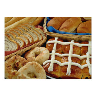 Delicious Baked goods: bagels, rolls, hot crossed Custom Invitations