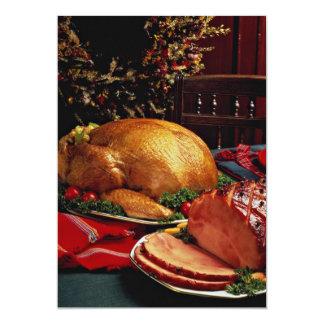 Delicious Baked ham, roast turkey 5x7 Paper Invitation Card